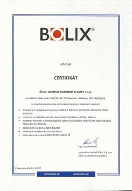 Certifikát o zaškolení BOLIX GENESIS 2017-page1