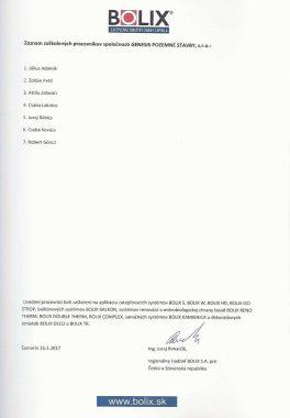 Certifikát o zaškolení BOLIX GENESIS 2017-page2