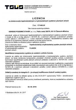 Licencia na zhotovovanie tepelnoizolačných a hydroizolačných systémov plochých striech 2