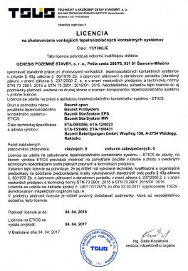 Licencia na zhotovovanie vonkajších tepelnoizolačných kontaktných systémov 2