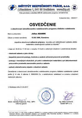 Osvedčenie odstraňovania azbestu 1