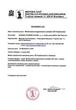Referenčný list Pod. Biskupuce 1