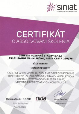 certifikát siniat Ľud