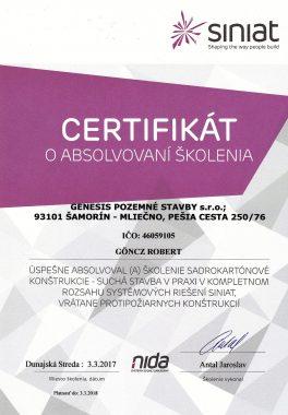 certifikát siniat