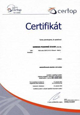 ISO certifikát projektového manažérstva pre realizáciu komplexných projektov.