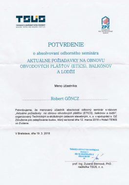 požiadavky na obnovu obvodových plášťov (ETICS)
