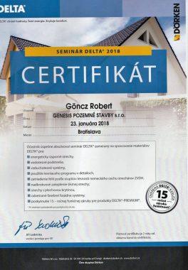Certifikát Dörken Delta
