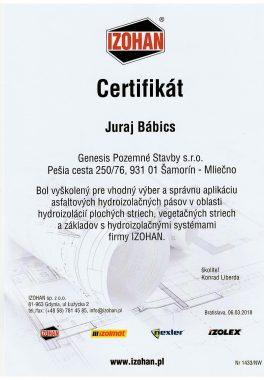 certifikát asfalt pás Bábič