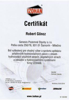 certifikát asfalt pás Goncz R