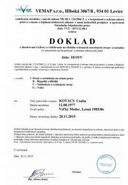 5 Potvrdenie Obsluha stav strojov Kovács