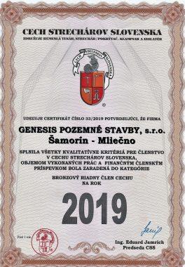 Cech strechárov certifikát 2019